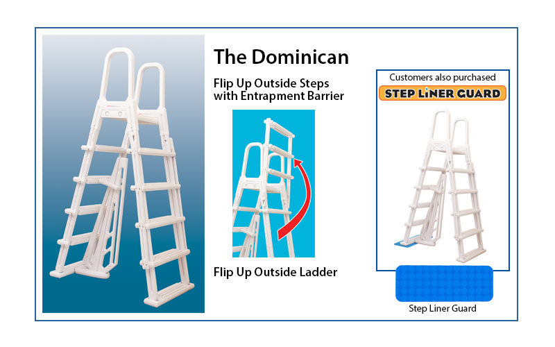 Dominica A Frame 48 To 54 Pvc Entry Ladder Swimming Pool Discounters