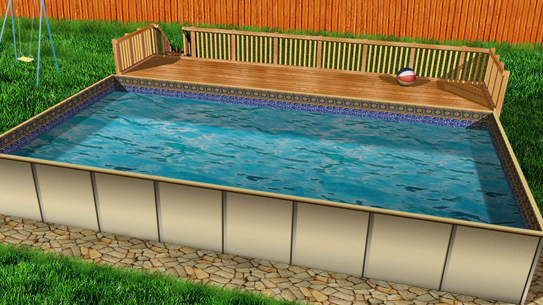 Swimming pool discountershercules modular above ground for Square above ground pool