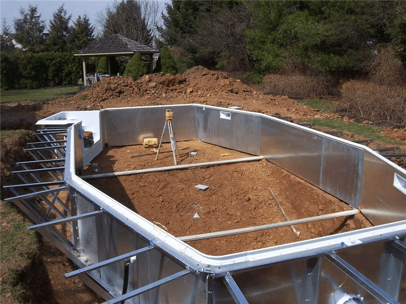 Inground Swimming Pool Construction : Swimming pool discounterssteel wall in ground kits