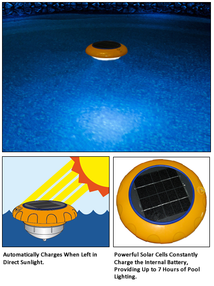 Swimming Pool Discounters Solar Flair Recharging Floating Light