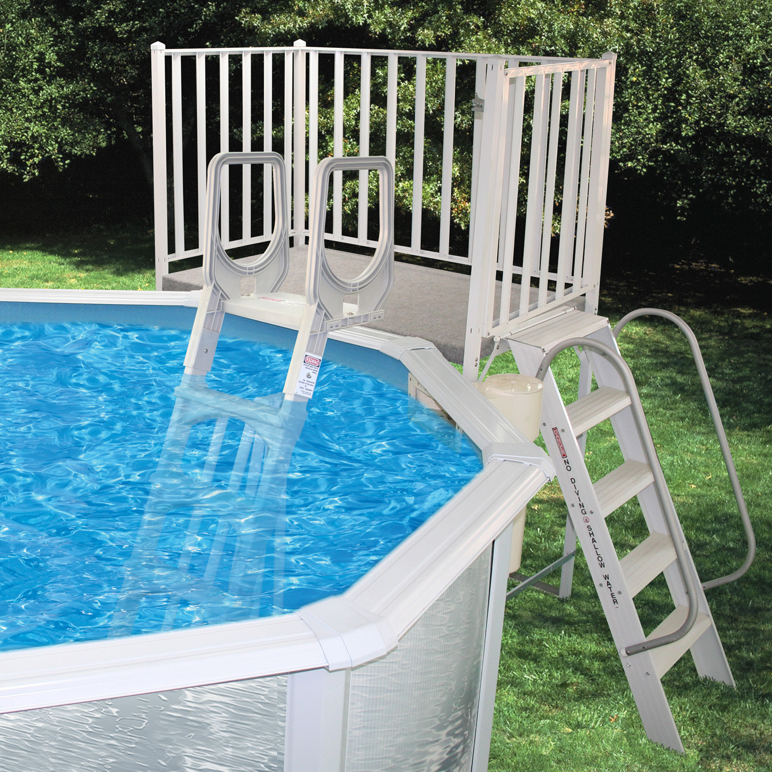 Free Standing Aluminum Decks from   swimming pool discounters