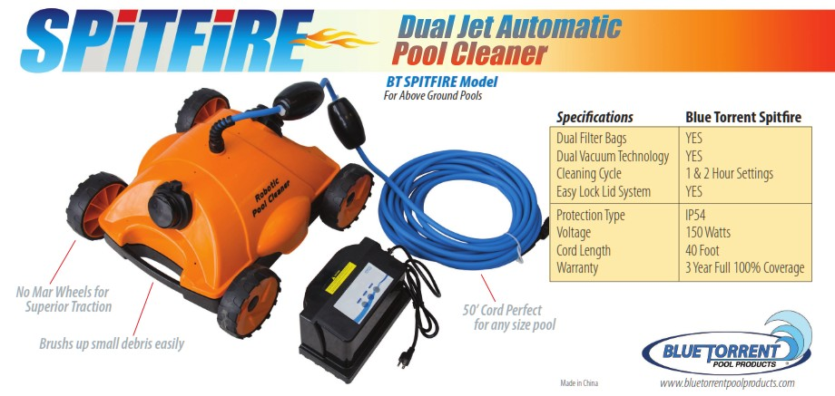 Spitfire Above Ground Electric Jet Driven Pool Cleaner
